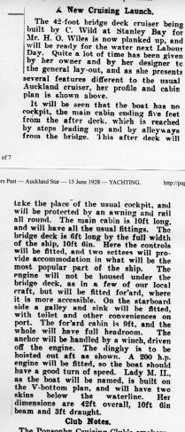 Auckland Star 15/6/1928
