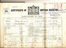 Lady Margaret Registration certificate