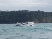 Photo of Raiona motoring out of North Channel, Kawau Island on the day of the 'tidal wave' ex Chile