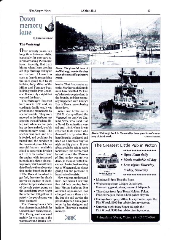 WAIRANGI HISTORY & PICS - MAGAZINE ARTICLE 2011