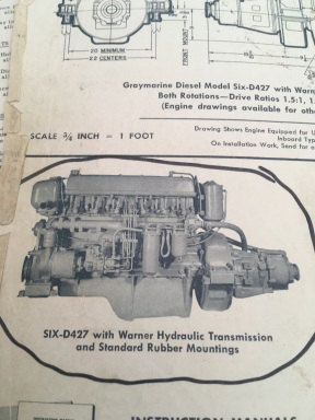 THETIS - ENGINES - 2 X GRAYMARINE 4 CYCLE 6 CYL (INSTALLED 1960)