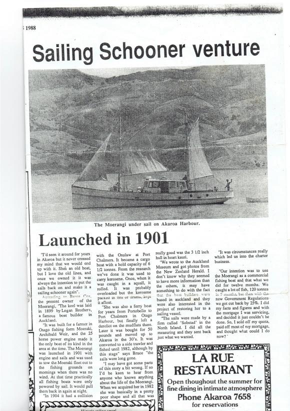 Akaroa Mail 15-1-1988 Article