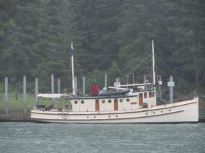 MV Teal, built 1927 for North West fisheries patrol, restored 1999, at Taku Harbour, Alaska.