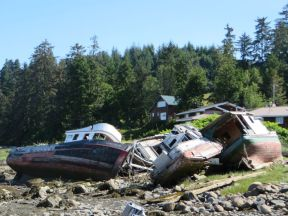 Fishing boats in retirement, Wrangell, Alaska.