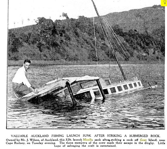 Mirella sinking off Goat Island
