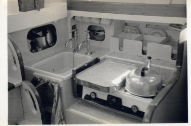 Maroro - interior detail, galley, 1957