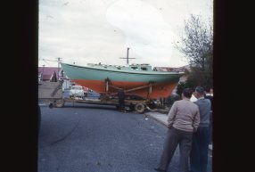Maroro - ready for launching, in Whangarei at 15 Rust Ave 07, 1957