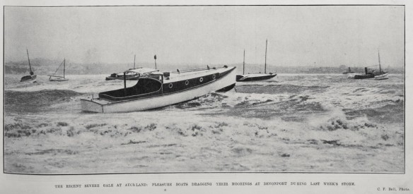 1911 PLEASURE BOATS DRAGGING THEIR MOORINGS