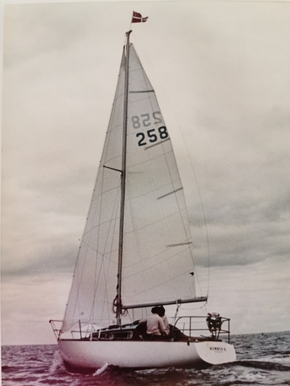 Nimbus 11 sailing in 1971 off Northland coast