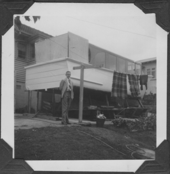 David H and Alan's boat St Heliers Dec 1955