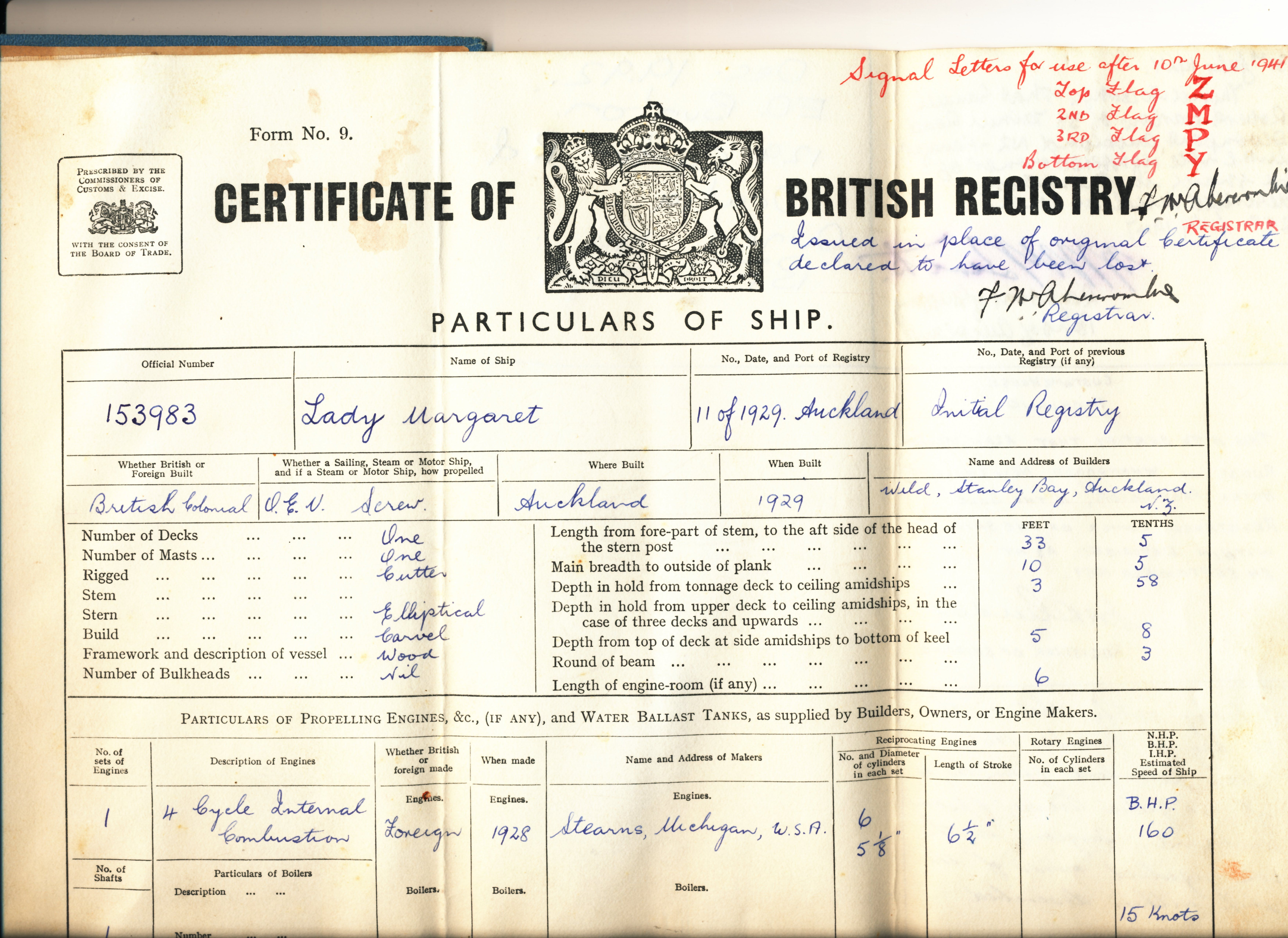 LADY MARGARET Registration certificate P1 (TOP) jpg