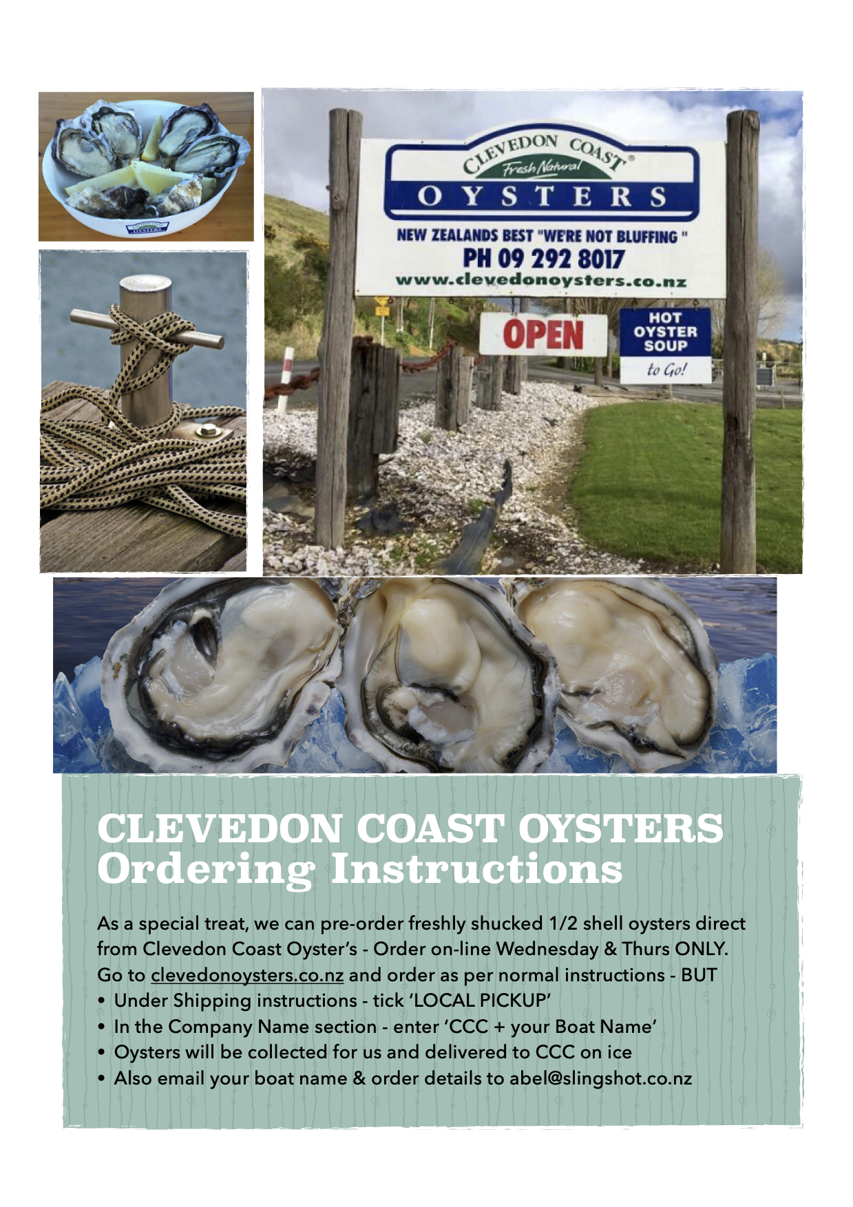 Clevedon Oysters - Ordering